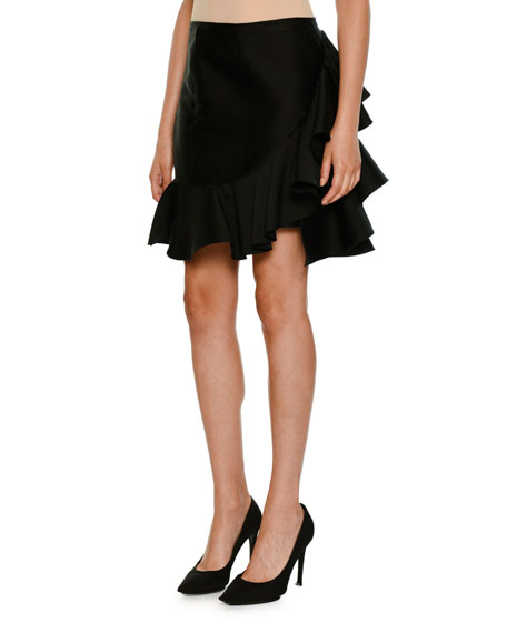 Side-Ruffle Peplum-Hem Mini Skirt