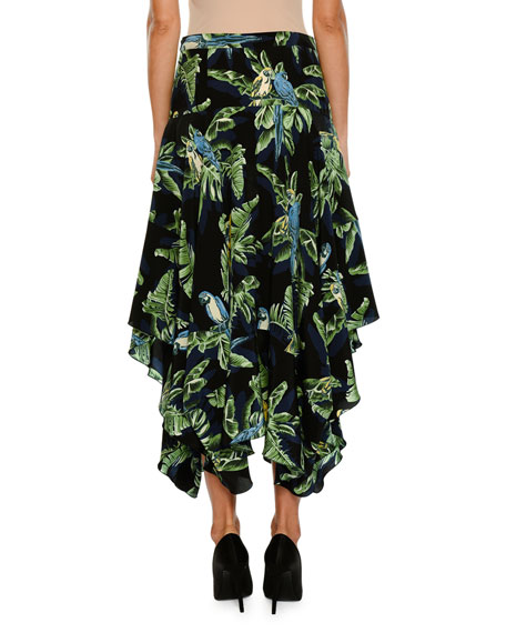 Birds of Paradise Printed Crepe de Chine Skirt w/ Handkerchief Hem