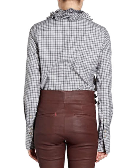 Juliette Ruffle-Collar Long-Sleeve Check Blouse