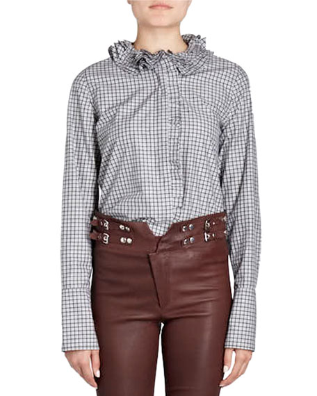 Isabel Marant Skinny-Leg Lamb Leather Pants with Buckles