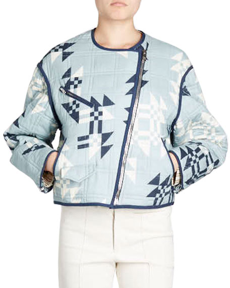 Isabel Marant Lazel Zip-Front Origami-Printed Quilted Jacket and