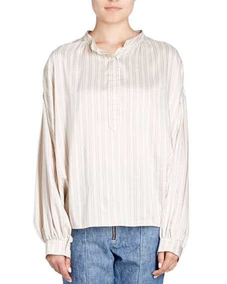 Isabel Marant Ilda Striped Silk Satin Blouson Tunic