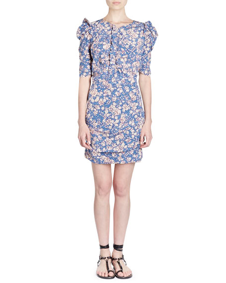 Brizia Floral-Print Fitted Dress