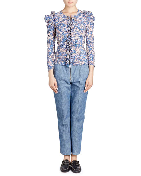 Bali Floral Print Zip Front Fitted Ruffled Blouse by Neiman Marcus