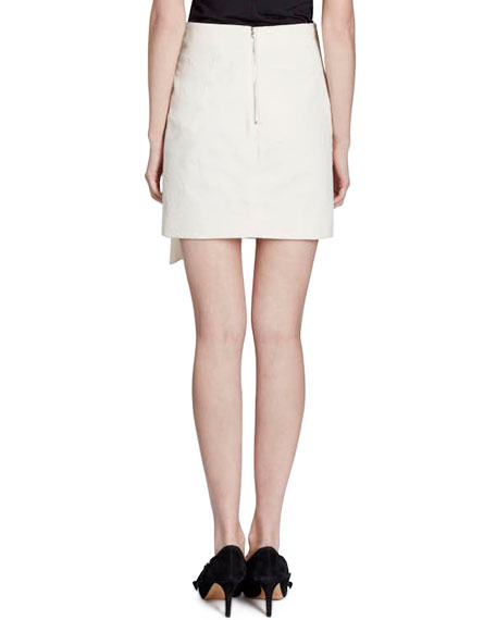 Lefly Side-Frill Cotton Mini Skirt