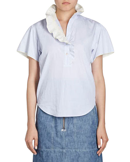 Isabel Marant Natalia High-Waist Cargo Pocket Chambray Skirt