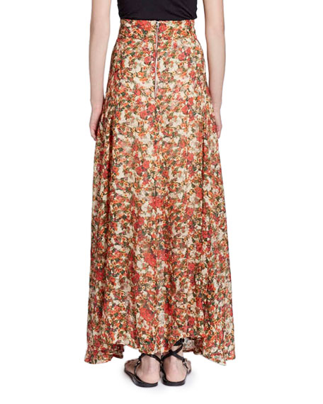 Ferone Floral-Burnout Long Silk-Blend Skirt