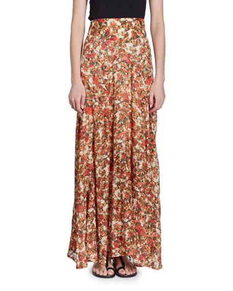 Ferone Floral-Burnout Long Silk-Blend Skirt