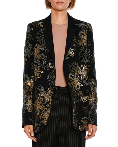 Single-Breasted Wool Cocktail Blazer with Sequined Embroidery