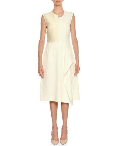 Asymmetric Sleeveless Sheath Dress with Ruffle Detail