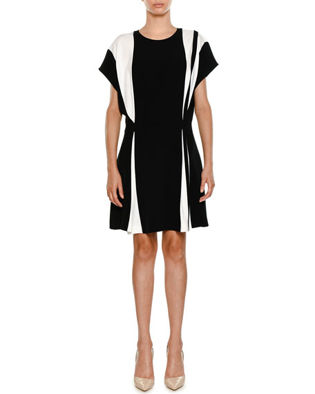 Crewneck Bicolor Belted Stretch-Cady Short Dress
