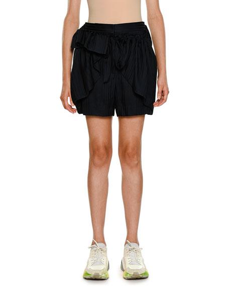 Striped-Shirting Ruffled Apron-Front Silk Shorts