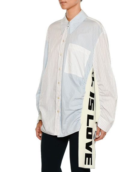 Striped Button-Front Shirt w/ All Is Love Knit Sides