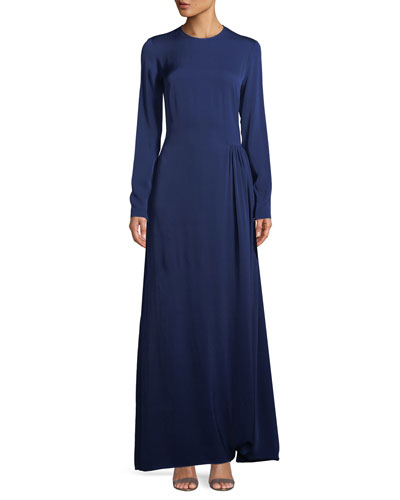 Long-Sleeve Side-Pleat Jersey Gown