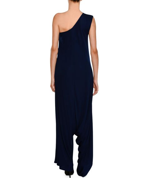 One-Shoulder Drop Wide-Leg Jersey Jumpsuit