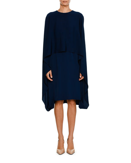 Image 1 of 2: Crewneck Cape-Front Belted Short Dress