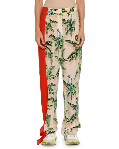 Birds of Paradise Print Wide-Leg Lounge Pants w/ Solid Stripe