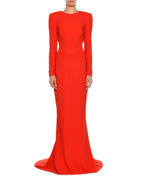 High-Neck Long-Sleeve Open-Back Evening Gown