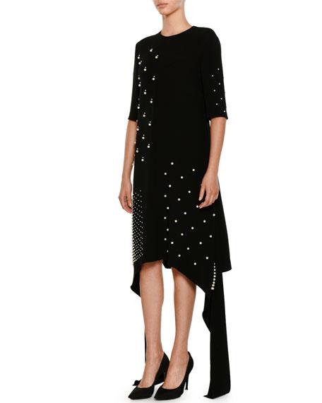 Flange-Sides Crewneck A-Line Stretch-Cady Dress w/ Pearlescent Trim