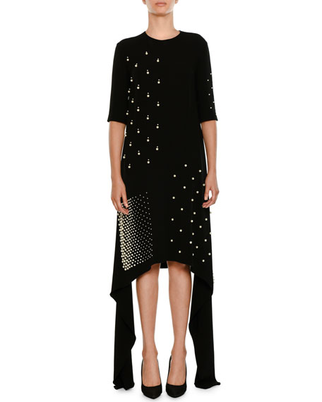 Stella McCartney Flange-Sides Crewneck A-Line Stretch-Cady Dress