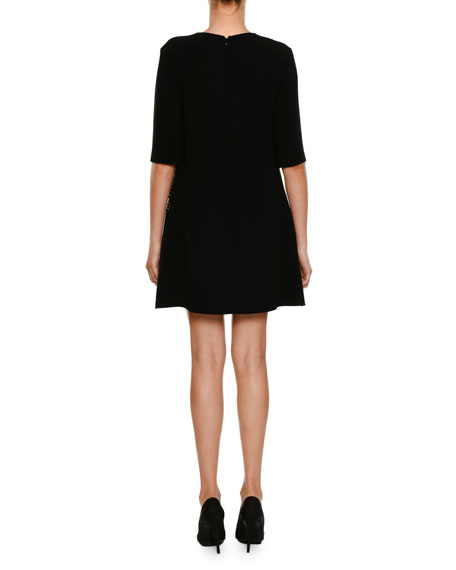 Crewneck Elbow-Sleeve A-Line Cocktail Dress