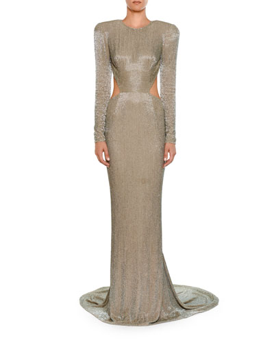 Jewel-Neck Long-Sleeve Allover Beaded Evening Gown w/ Open Back