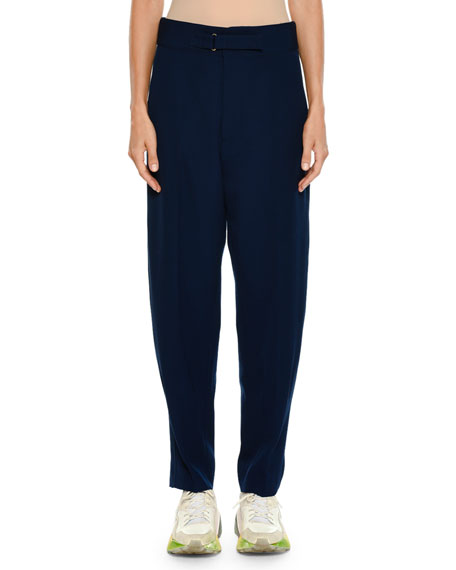 Tab-Front Pegged-Leg Wool Jogger Pants