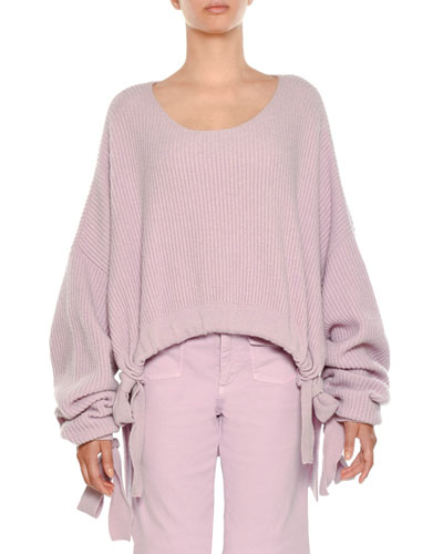 Scoop-Neck Cropped Chunky Ribbed Drawstring-Hem Sweater