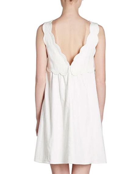 Wilby Plunging Scalloped Sleeveless Cotton Dress