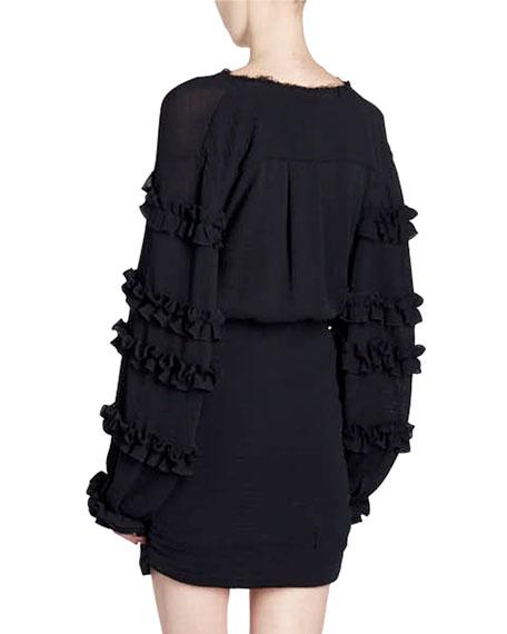 Button-Front Ruffled-Sleeve Cotton Gauze Short Dress