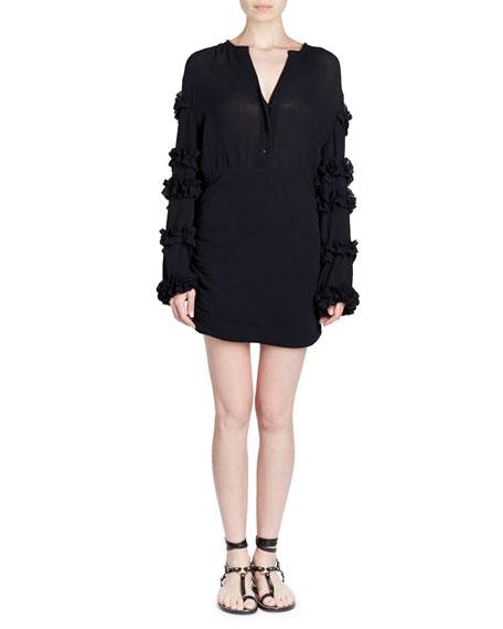 Isabel Marant Celest Button-Front Ruffled-Sleeve Cotton Gauze