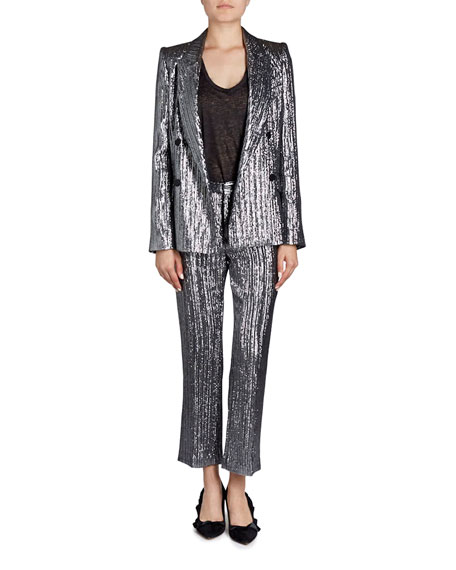 Denel Double-Breasted Metallic Cocktail Blazer