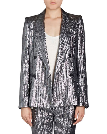 Isabel Marant Denel Double-Breasted Lamé Cocktail Blazer and