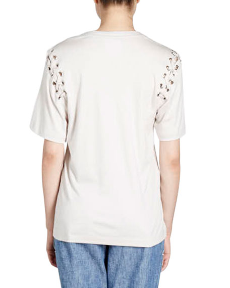 Yaden Crewneck Laced-Shoulder Cotton T-Shirt
