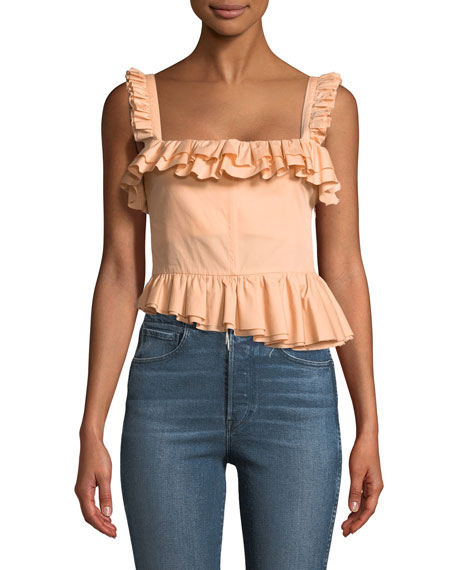 Brock Collection Tegan Ruffled Bustier Tank with Asymmetric