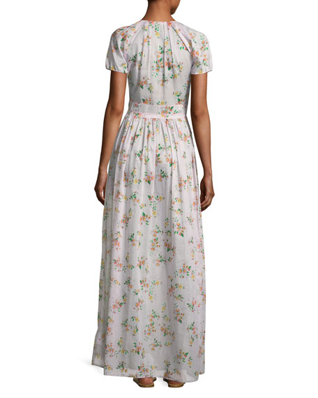 Dean Button-Front Floral-Print Cotton Voile Long Dress