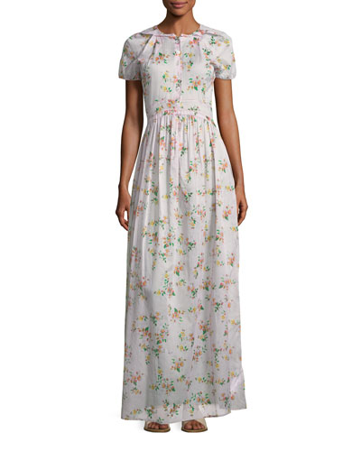Dean Button-Front Floral-Print Cotton Voile Long Dress