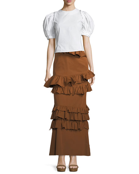 Long Tiered Ruffled Skirt
