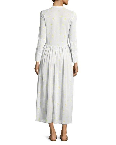 Disco Geranium-Print Button-Front Cotton Voile Long Dress