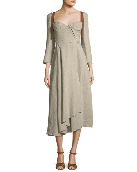 Brock Collection Devin Corseted Long-Sleeve Linen Dress w/