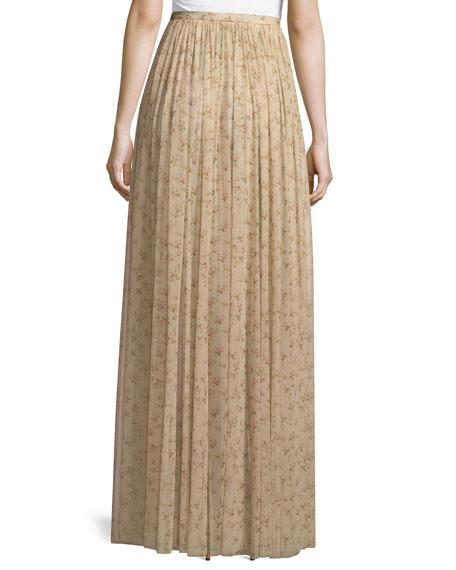 Sade Floral-Print Semisheer Long Gathered Skirt