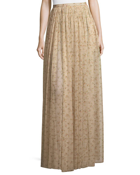 Sade Floral-Print Semisheer Long Gathered Skirt
