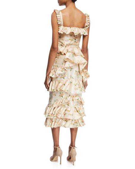 Daria Floral-Print Tiered Taffeta Corset Midi Dress