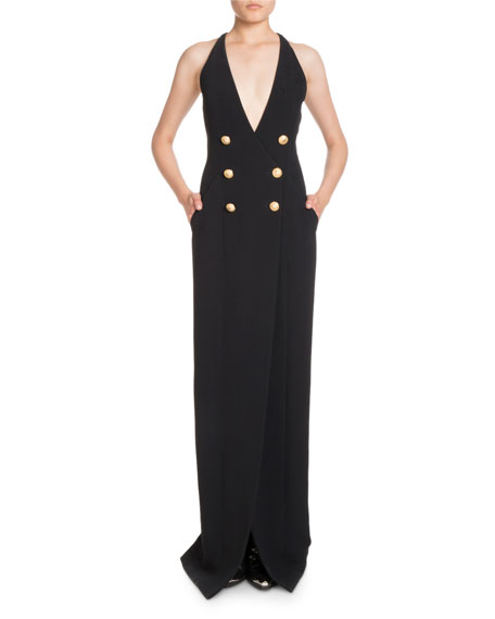 Double-Breasted Deep V Crepe Evening Gown w/ Slit