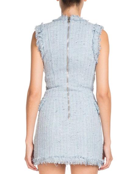 Double-Breasted Deep-V Sleeveless Tweed Short Dress