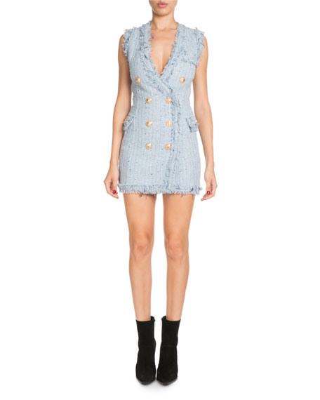 Balmain Double-Breasted Deep-V Sleeveless Tweed Short Dress