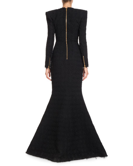 Deep-V Double-Breasted Front-Slit Tweed Evening Gown