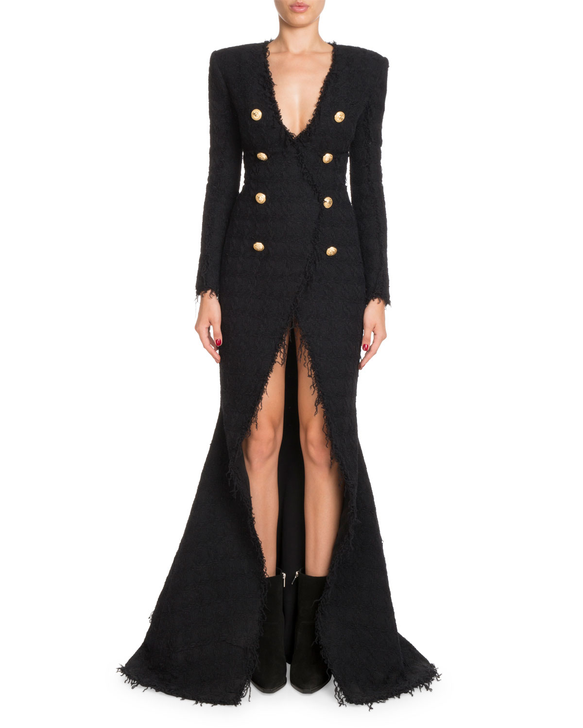 Balmain Deep-V Double-Breasted Front-Slit Tweed Evening Gown ...
