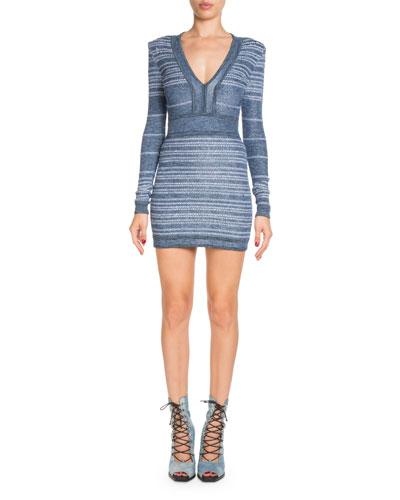V-Neck Long-Sleeve Short Striped Tweed Cocktail Dress