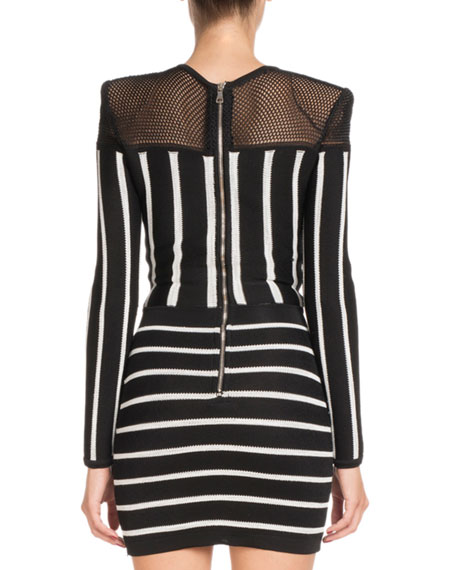 Long-Sleeve Striped Short Cocktail Dress with Mesh Inset